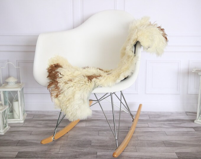 Genuine Rare Tuscan Lamb Sheepskin Rug - Curly Fur Rug - Natural Sheepskin - Ivory Brown Sheepskin | Small Sheepskin #2MARGOT13