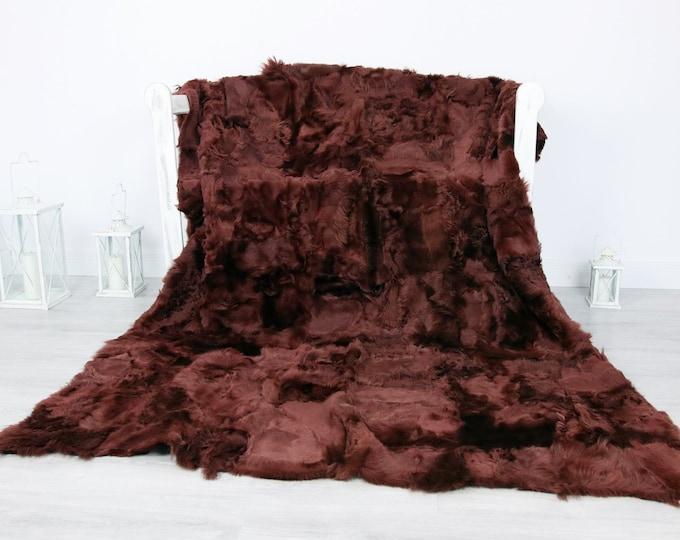 Luxurious Toscana Sheepskin Real Fur Throw | Real Fur Blanket | Sheepskin throw | Wine Throw