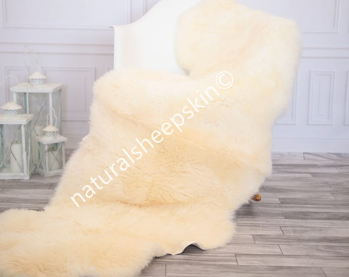 Double Sheepskin Rug | Long rug | Shaggy Rug | Chair Cover | Runner Rug | Ivory Rug | Carpet | Beige Sheepskin
