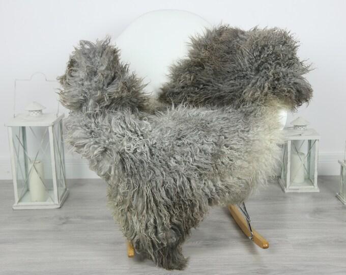 Genuine Rare Gotland Sheepskin Rug - Curly Fur Rug - Natural Sheepskin - Gray Brown Sheepskin #CURLY7