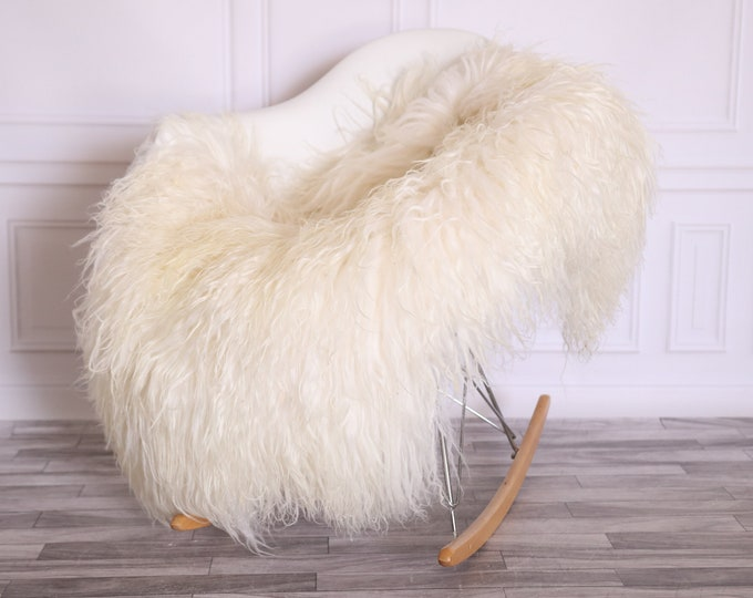 Sheepskin Rug Genuine | Curly Sheepskin Rug | Curly Iceland Sheepskin | Ivory Sheepskin | Sheepskin Throw | Sheepskin Pelt