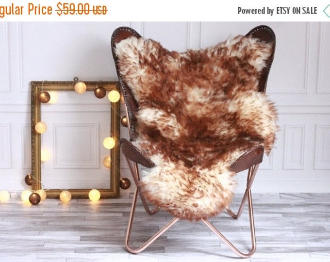 ON SALE Genuine Natural Brown tips Sheepskin Rug, Pelt, soft long fur XXL Large - Mouflon