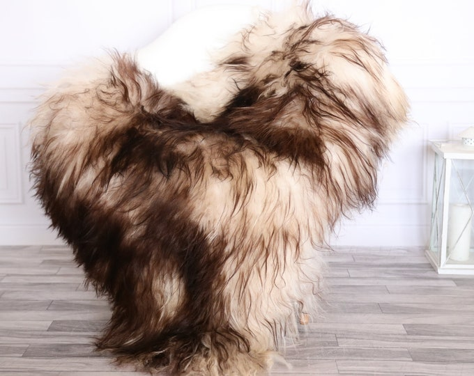 Icelandic Sheepskin | Real Sheepskin Rug | CHRISTMAS DECOR | Sheepskin Rug Brown White | Fur Rug | Homedecor #1isl29
