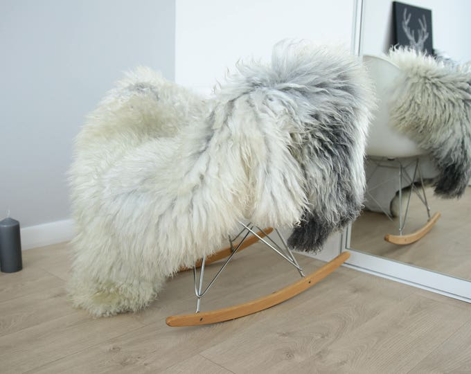 Genuine Rare Gotland Sheepskin Rug - Curly Fur Rug - Natural Sheepskin - Gray Ivory Sheepskin #FEBGOT11