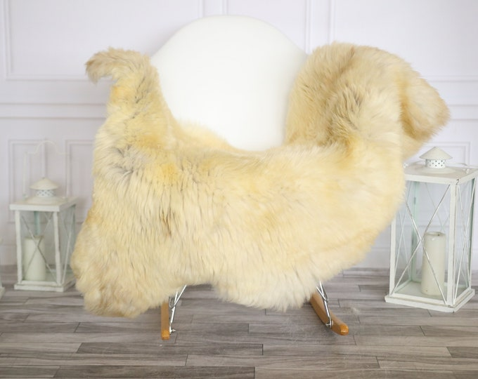 Sheepskin Rug | Real Sheepskin Rug | Shaggy Rug | Chair Cover | Sheepskin Throw |Brown Beige Sheepskin | Home Decor | #HERMAJ44