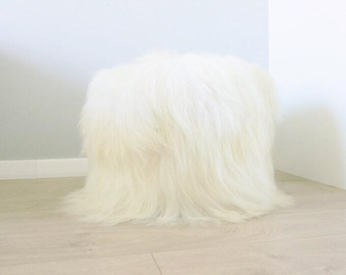 Icelandic Sheepskin pouf, furry pouf, real fur sheepskin ottoman