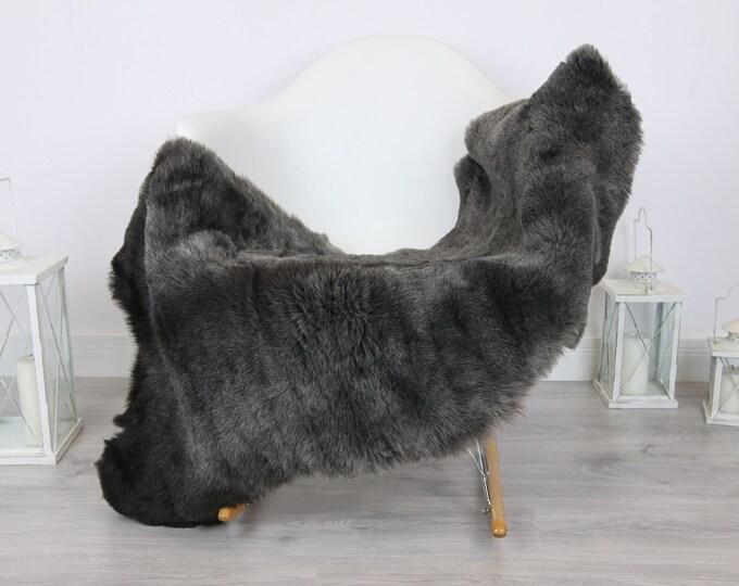 Sheepskin Rug   Real Sheepskin Rug   Shaggy Rug   Scandinavian Rug   Sheepskin Throw Gray Black Sheepskin   SCANDINAVIAN DECOR   #5HER21