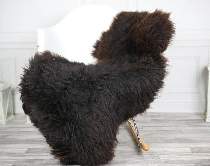 Sheepskin Rug | Real Sheepskin Rug | Shaggy Rug | Chair Cover | Sheepskin Throw | Brown Black Sheepskin | CHRISTMAS DECOR | #2HER29