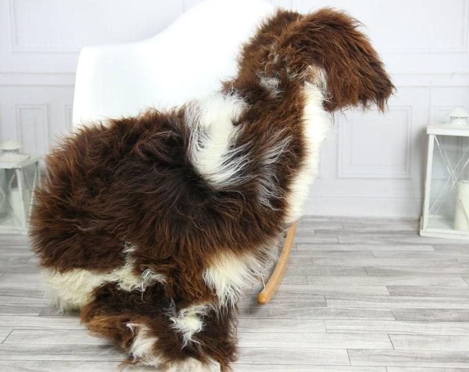 Sheepskin Rug | Real Sheepskin Rug | Shaggy Rug | Chair Cover | Sheepskin Throw | Brown White Sheepskin | CHRISTMAS DECOR | #2HER4