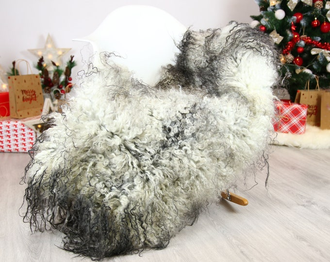 Genuine Rare Gotland Sheepskin Rug - Curly Fur Rug - Natural Sheepskin - Gray  Sheepskin #CHRISTGOT18