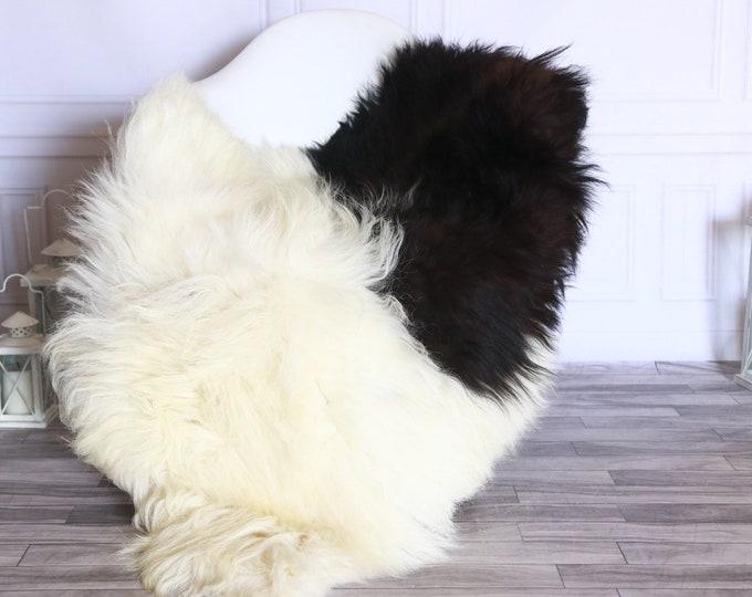 Icelandic Sheepskin | Real Sheepskin Rug | Sheepskin Rug White Black | Fur Rug | Homedecor #WRZISL18