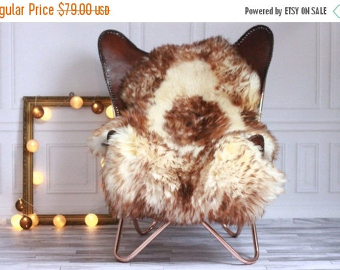 ON SALE Genuine Natural Brown Tipped Sheepskin Rug, Pelt, soft long fur XXL Large - Mouflon