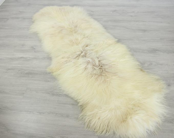 Double Icelandic Sheepskin Rug Long rug Large Sheepskin Throw Chair Cover Curly Sheepskin Carpet Ivory Sheepskin Sheep Skin Rug | 2double10