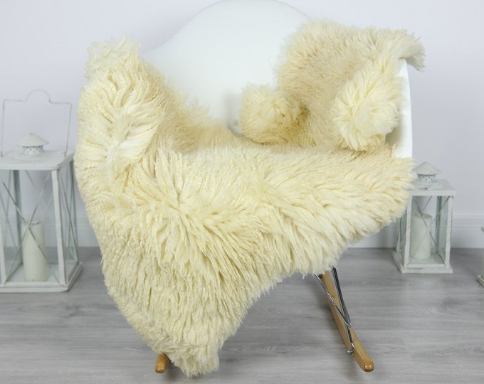Genuine Rare Tuscan Lamb Sheepskin Rug - Curly Fur Rug - Natural Sheepskin - Ivory  Sheepskin | #CURLY23