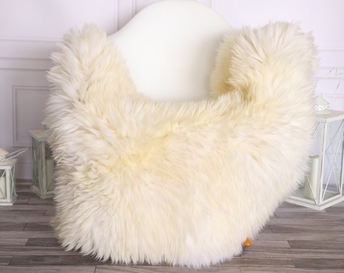 Sheepskin Rug   Real Sheepskin Rug   Shaggy Rug   Scandinavian Rug     SCANDINAVIAN DECOR   White Ivory Sheepskin #OLHER31