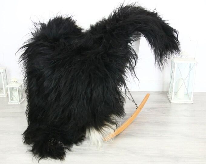 Icelandic Sheepskin | Real Sheepskin Rug | | Large Sheepskin Rug black| Fur Rug | Homedecor | Sheepskin Throw | Long fur #colisl11