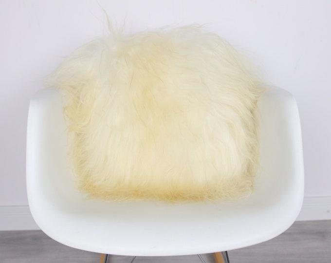 Sheepskin Fur Pillow, Real fur pillow,Ivory Fur pillow, Square sheepskin pillow, Ivory pillow, scandinavian pillow, Both side fur