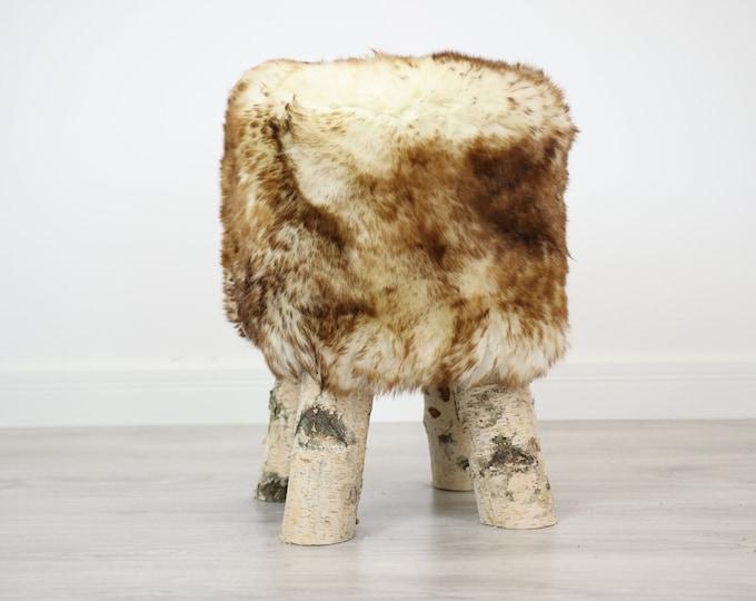 Wood Stool |  Fur Stool | Sheepskin pouf |Sheepskin stool | Vanity Stool | Birch tree stool | red fur stool