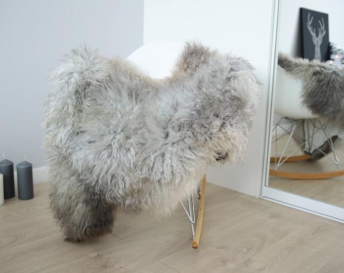 Genuine Rare Gotland Sheepskin Rug - Curly Fur Rug - Natural Sheepskin - Gray Ivory Sheepskin #FEBGOT10