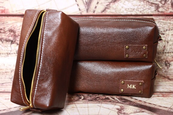 HANDMADE Personalized Men's Leather Toiletry Case Dopp Kit Shaving Bag OOAK Groosmen Gift