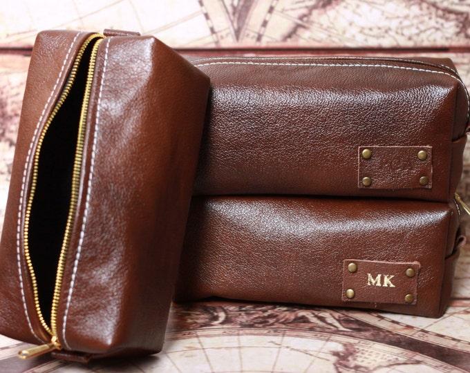 HANDMADE Personalized Men's Leather Toiletry Case Dopp Kit Shaving Bag OOAK Groosmen Gift