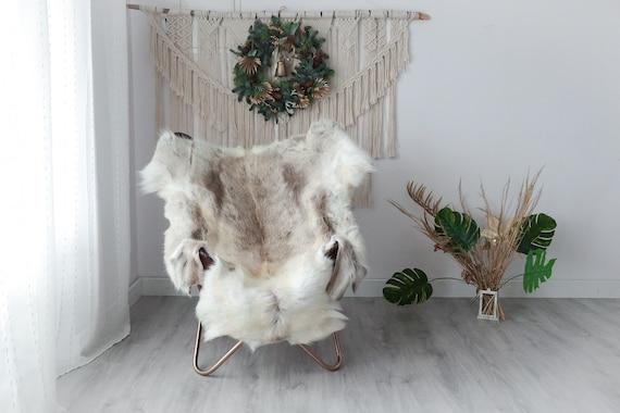 Reindeer Hide | Reindeer Rug | Reindeer Skin | Throw XXL EXTRA LARGE - Scandinavian Style Christmas Decor Brown White Hide #Pre6