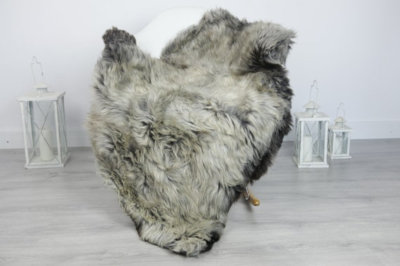 Real Sheepskin Rug Shaggy Rug Chair Cover Sheepskin Throw Sheep Skin Gray Sheepskin Home Decor Rugs #7her34
