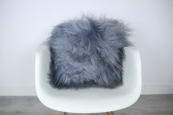 Sheepskin Fur Pillow, Real fur pillow, Gray fur pillow, Square sheepskin pillow, Grey pillow, scandinavian pillow, Both side fur