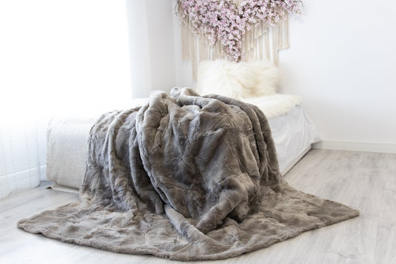 Luxurious Patchwork Toscana Sheepskin Real Fur Throw | Real Fur Blanket | Sheepskin throw | Sheepskin Blanket | Boho Throw |FuFu47