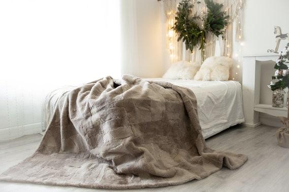 Luxurious Patchwork Toscana Sheepskin | Real Fur Throw | Real Fur Blanket | Sheepskin Throw Taupe | Sheepskin Blanket | Boho Throw FuFu127