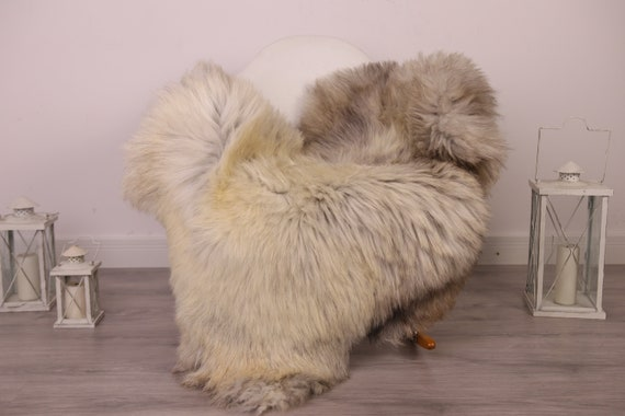 Real Sheepskin Rug Shaggy Rug Chair Cover Sheepskin Throw Sheep Skin Gray Sheepskin Home Decor Rugs #8her8