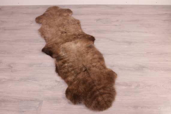 Double Sheepskin Rug Long rug Sheepskin Throw Chair Cover Runner Rug  Carpet  Brown White Sheepskin Sheep Skin Rug | ŚRSZ4