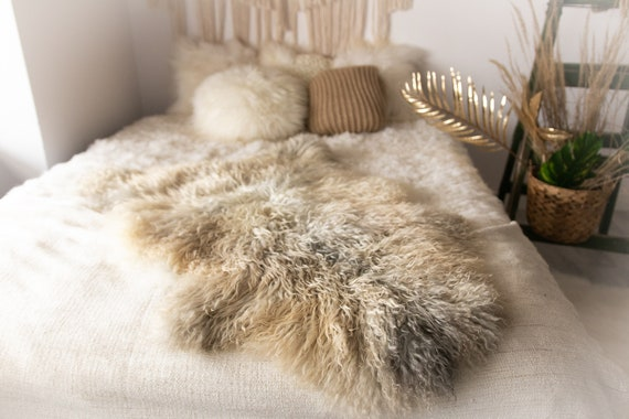 Real Sheepskin Rug Genuine Rare Gotland Sheepskin Rus - Curly Fur Rug Scandinavian Sheep skin - Gray Gold Curly Sheepskin #Bohgot14