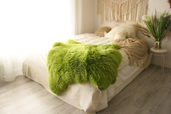 Double Sheepskin Rug | Long rug | Shaggy Rug | Chair Cover | Runner Rug | Green Rug  | Green Sheepskin