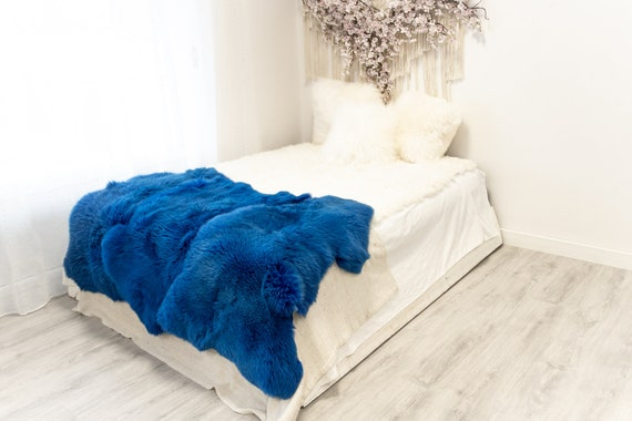 Triple Blue Sheepskin Rug | Long rug | Shaggy Rug | Chair Cover | Area Rug | Blue Rug | Carpet | Blue Throw | Sheep Skin | Blue Sheep Skin
