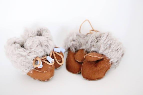 Baby Christmas Set Booties + Gloves   Baby Booties   Sheepskin Slippers Booties   Winter Booties   Newborn leather Booties
