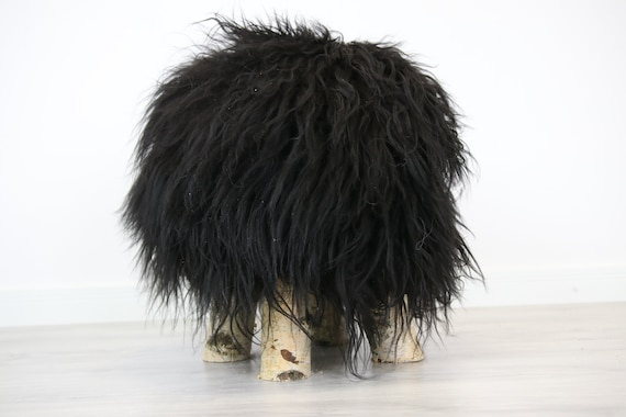 Wood Stool | Black Fur Stool | Sheepskin pouf | Icelandic Sheepskin stool | Vanity Stool | Birch tree stool | black stool