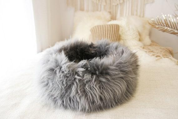 Large Sheepskin Cat bed | Sheepskin Dog bed | Cat Pouf | Dog Pouf | Sheepskin Cat Mat | Dog Mat | Gray Pet Bed | Fur Pet Bed