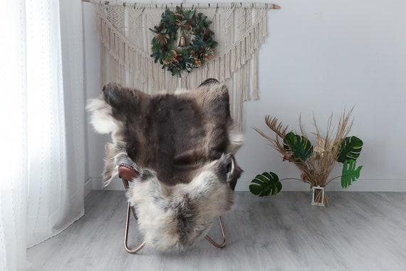 Reindeer Hide | Reindeer Rug | Reindeer Skin | Throw XXL EXTRA LARGE - Scandinavian Style Christmas Decor Brown White Hide #Pre5