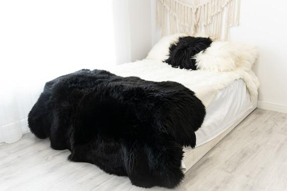 Quad Black Merino Sheepskin Rug | Long rug | Shaggy Rug | Chair Cover | Area Rug | Black Rug | Carpet | Black Sheepskin Merino Black