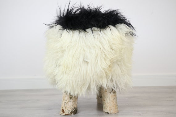 Wood Stool |  Fur Stool | Sheepskin pouf |Sheepskin stool | Vanity Stool | Birch tree stool |  fur stool