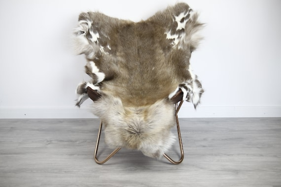 Reindeer Hide | Reindeer Rug | Reindeer Skin | Throw XXL EXTRA LARGE - Scandinavian Style Christmas Decor Brown White Hide #Ire34