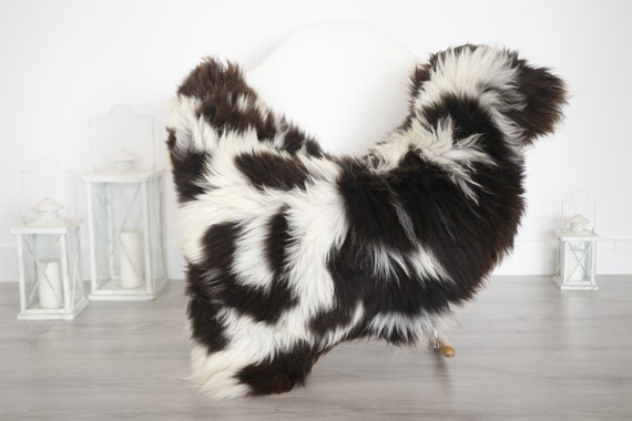 Real Sheepskin Rug Shaggy Rug Chair Cover Sheepskin Throw Sheep Skin Brown White Sheepskin Home Decor Rugs #6her58