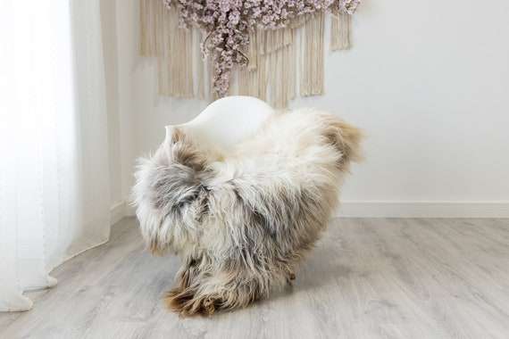 Real Icelandic Sheepskin Rug Scandinavian Home Decor Sofa Sheepskin throw Chair Cover Natural Sheep Skin Rugs Brown Gray #Iceland323