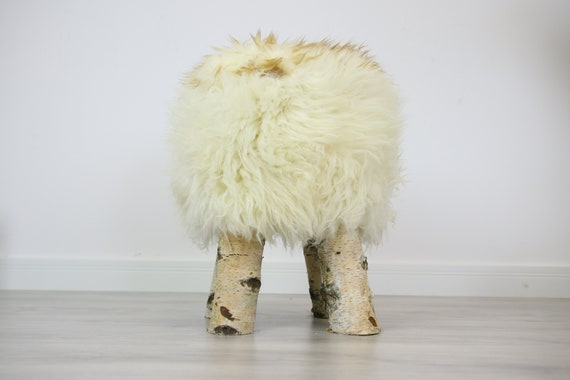 Wood Stool |  Fur Stool | Sheepskin pouf |Sheepskin stool | Vanity Stool | Birch tree stool | white fur stool