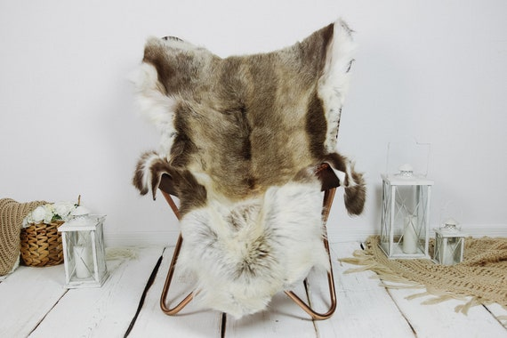 Reindeer Hide | Reindeer Rug | Reindeer Skin | Throw XXL EXTRA LARGE - Scandinavian Style Christmas Decor Brown White Hide #Kre25