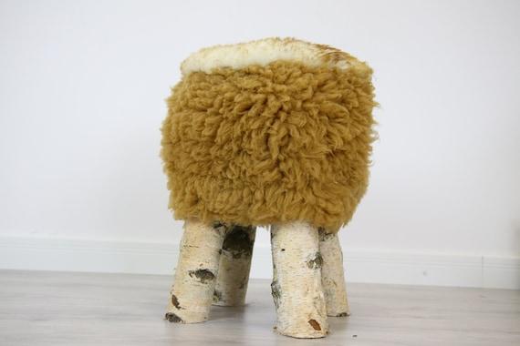 Wood Stool |  Fur Stool | Sheepskin pouf |Sheepskin stool | Vanity Stool | Birch tree stool | carmel fur stool