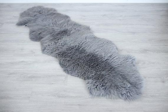 Double Sheepskin Rug Long rug Sheepskin Throw Chair Cover Runner Rug  Carpet  Grey Sheepskin Sheep Skin Rug Grey rug | 2double1