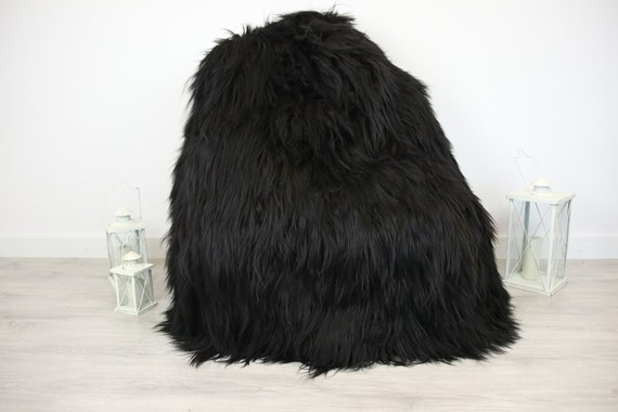 ON SALE Sheepskin Beanbag Black | Sheepskin Bean Bag | Sheepskin Pouf | Bean Bag Huge Bean Bag Furry Bean Bag | Bean Bag | Beanbag