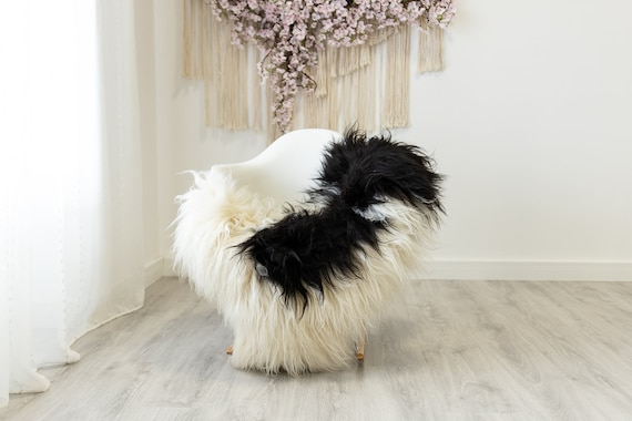 Real Icelandic Sheepskin Rug Scandinavian Home Decor Sofa Sheepskin throw Chair Cover Natural Sheep Skin Rugs Ivory Black #Iceland326